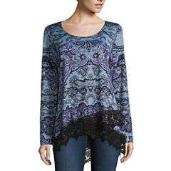 One World Apparel Long Sleeve Scoop Neck T-Shirt-Womens