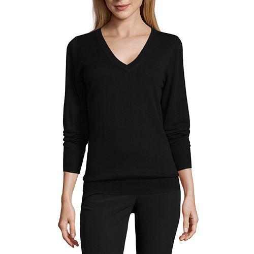 Worthington Long Sleeve V Neck Stripe Pullover Sweater-Talls