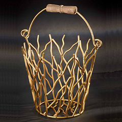 St. Croix Trading Kindwer Gilded Iron Branches Bucket with Wood Handle