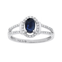 Genuine Sapphire and 1/8 CT. T.W. Diamond10K White Gold Oval Ring