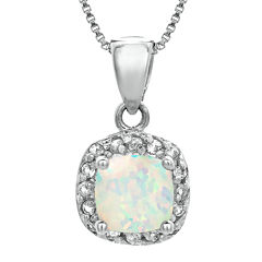 Cushion-Cut Lab-Created Opal and Genuine White Topaz Sterling Silver Pendant Necklace