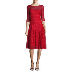 Signature by Sangria 3/4 Sleeve Lace Fit & Flare Dress