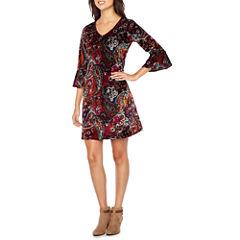 MSK 3/4 Bell Sleeve Paisley Shift Dress