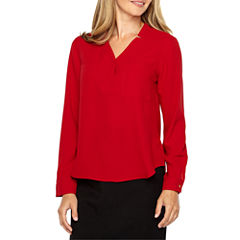 Black Label by Evan-Picone Long Sleeve Y Neck Crepe Blouse