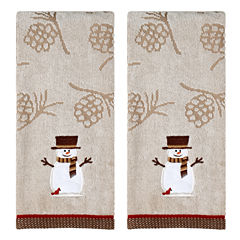 Saturday Knight Woodcut Snowman Holiday 2-pc. Embroidered Hand Towel