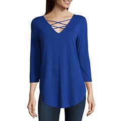 a.n.a Ana 3/4 Sleeve Lace Up Tee 3/4 Sleeve V Neck T-Shirt-Womens