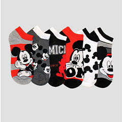 6 Pair Mickey Mouse No Show Socks - Womens