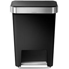 simplehuman® 45L Rectangular Trash Can in Black Plastic