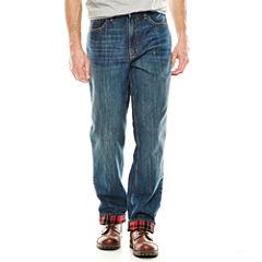 St. John's Bay® Flannel-Lined Denim Pants