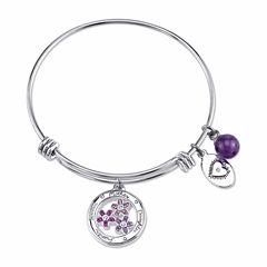 Footnotes Womens Purple Silver Over Brass Bangle Bracelet