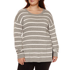 Arizona Long Sleeve Stripe Pullover Sweater-Juniors Plus