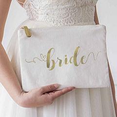 Cathy's Concepts Gold Foil Bride Canvas Clutch