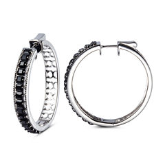 Black Spinel Sterling Silver Hoop Earrings