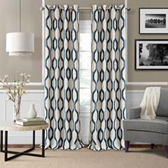 Renzo Geometric Ikat Blackout Grommet-Top Curtain Panel