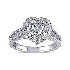 3/4 CT. T.W. Diamond 14K White Gold Heart Ring