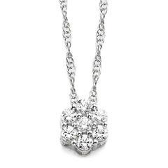 diamond blossom 1/5 CT. T.W. Diamond Sterling Silver Cluster Pendant