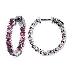 Pink Tourmaline Sterling Silver Hoop Earrings