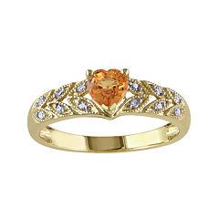Heart-Shaped Genuine Orange Sapphire and Diamond-Accent Ring
