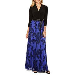 Be by CHETTA B 3/4 Sleeve Paisley Maxi Dress