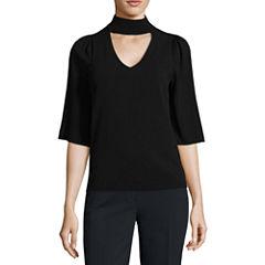 Worthington Short Sleeve High Neck Pullover Sweater-Talls