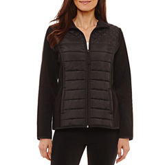 St. John's Bay Active Mixed Quilted Fleece Jacket- Talls