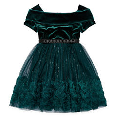 Knit Works Belted Short Sleeve Off Shoulder Sleeve Skater Dress - Big Kid Girls