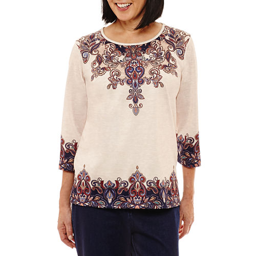 Alfred Dunner Gypsy Moon 3/4 Sleeve Crew Neck Scroll T-Shirt-Womens