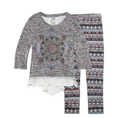 Knit Works Graphic Long Sleeve Crochet Detail Legging Set- Girls' 7-16 & Plus