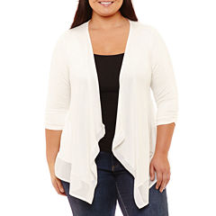 Byer California 3/4 Sleeve Open Front Cardigan-Plus