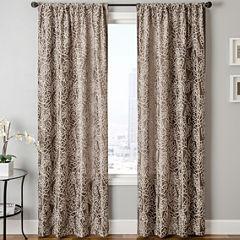 Sedro Floral Faux-Silk Rod-Pocket Curtain Panel