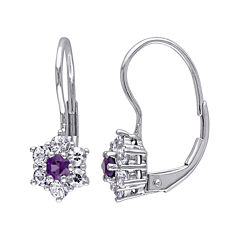 Genuine Amethyst and White Sapphire 10K White Gold Earrings