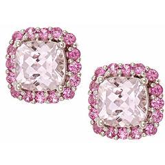 LIMITED QUANTITIES! Cushion Pink Morganite 10K Gold Stud Earrings