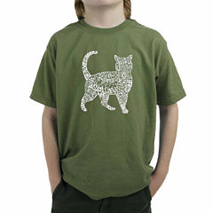 Los Angeles Pop Art Created Out Of Cat Themed Words Graphic T-Shirt-Big Kid Boys