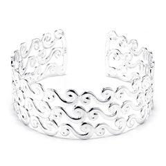 Dazzling Designs™ Silver-Plated Brass Wave Cuff Bracelet