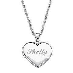 Personalized Girls Heart Locket Pendant Necklace