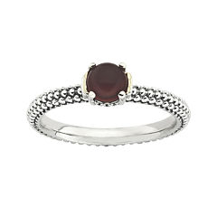 Personally Stackable Genuine Red Agate Two-Tone Ring