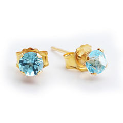 Genuine 4mm Blue Topaz 10K Yellow Gold Stud Earrings