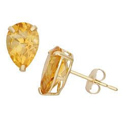 Pear Yellow Citrine 10K Gold Stud Earrings