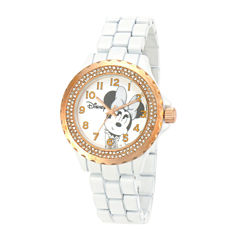Disney Minnie Mouse Womens White & Gold-Tone Watch with Crystals