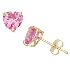 Heart Pink Sapphire 10K Gold Stud Earrings