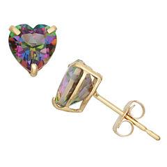 Heart Green Mystic Fire Topaz 10K Gold Stud Earrings