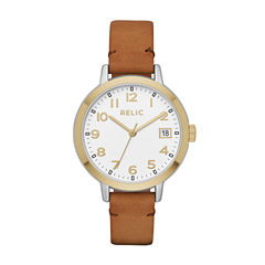 Relic Womens Brown Strap Watch-Zr12216