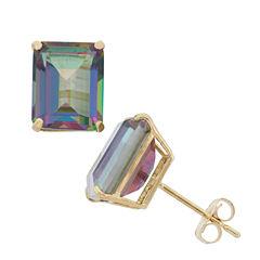 Emerald Blue Mystic Fire Topaz 10K Gold Stud Earrings