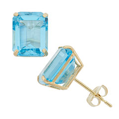 Emerald Blue Topaz 10K Gold Stud Earrings