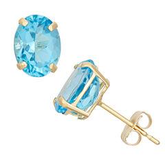 Round Blue Topaz 10K Gold Stud Earrings