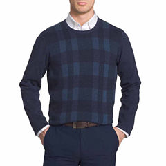 Van Heusen Plaid Novelty Crewneck Sweater Crew Neck Long Sleeve Pullover Sweater