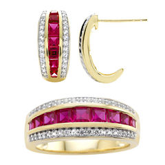 Lab-Created Ruby& Lab-Created White Sapphire Earring and Ring Boxed Set