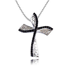 Womens Black Spinel Sterling Silver Pendant Necklace