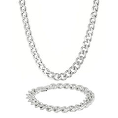 Mens Stainless Steel 12mm Chunky Curb Chain & Bracelet Boxed Set