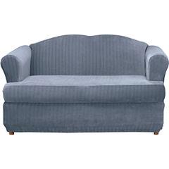 SURE FIT® Stretch Pinstripe 2-pc. T-Cushion Sofa Slipcover